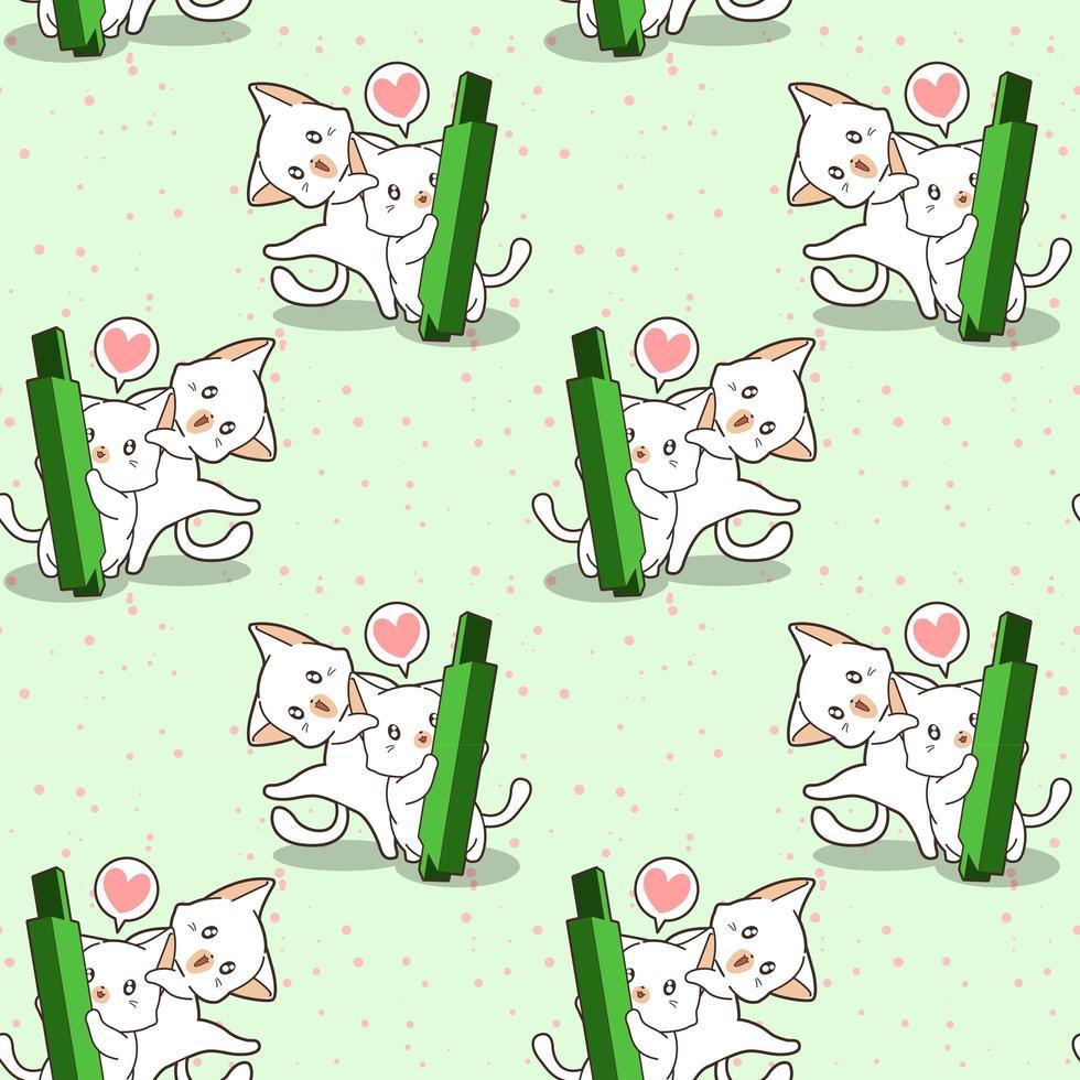 personagens de gatos kawaii perfeitos e padrão de vela verde vetor