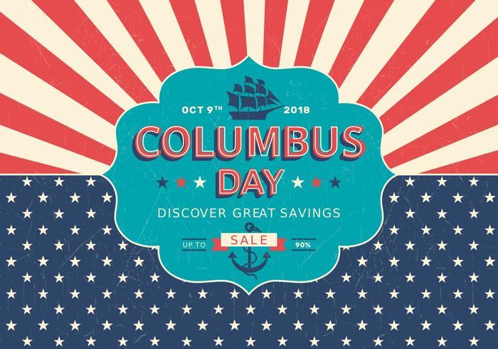 Poster do vetor retro da venda do dia de Colombo