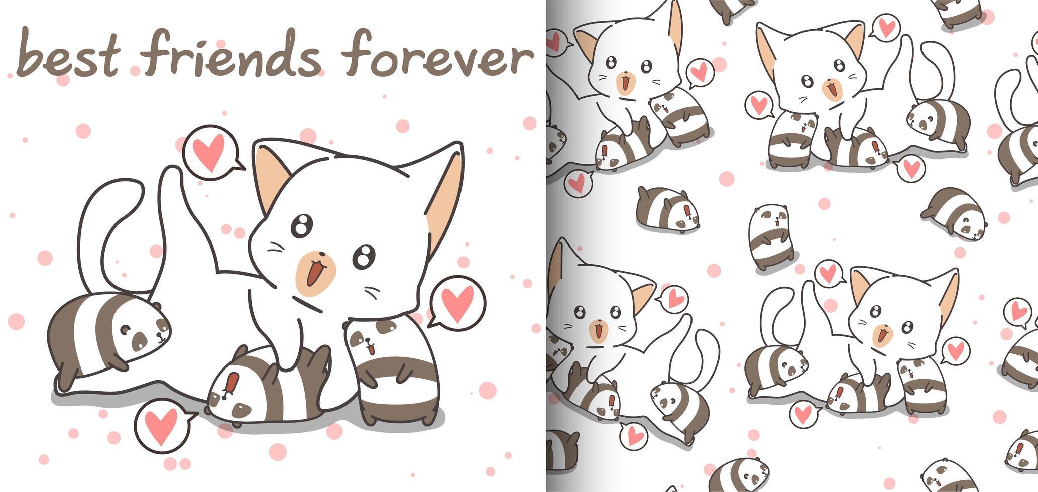 padrão perfeito de gato adorável e pequenos pandas vetor