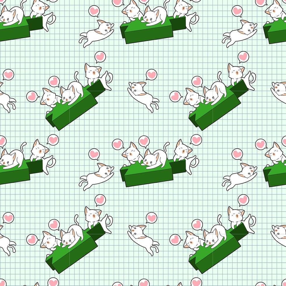 personagens de gatos kawaii e padrão de castiçal verde vetor