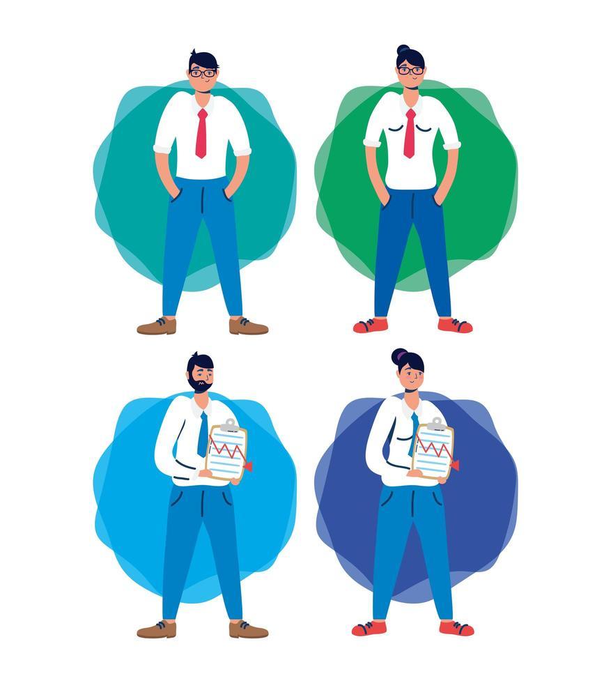 empresários com ícones de queda do mercado de ações vetor
