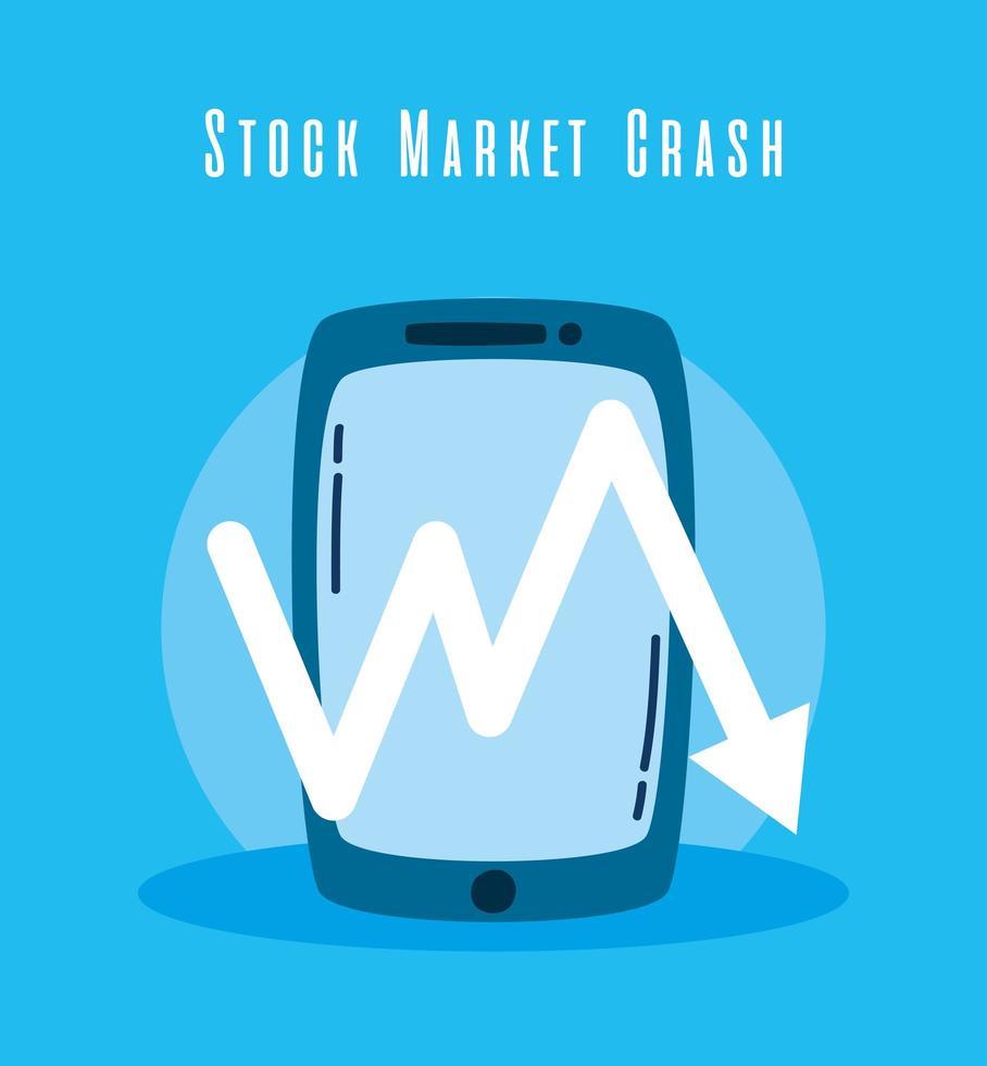 smartphone e queda na bolsa de valores vetor
