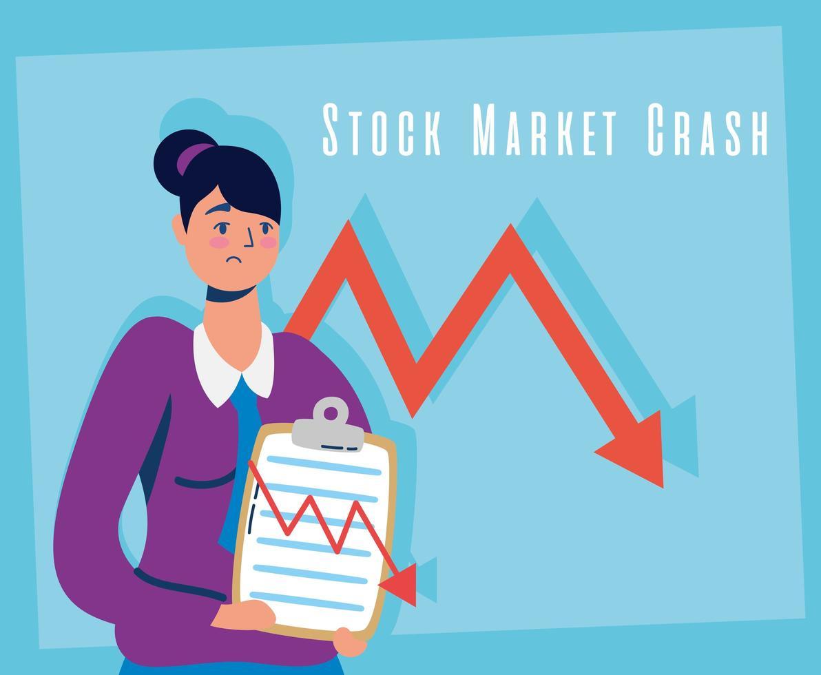 empresária com ícone de quebra do mercado de ações vetor
