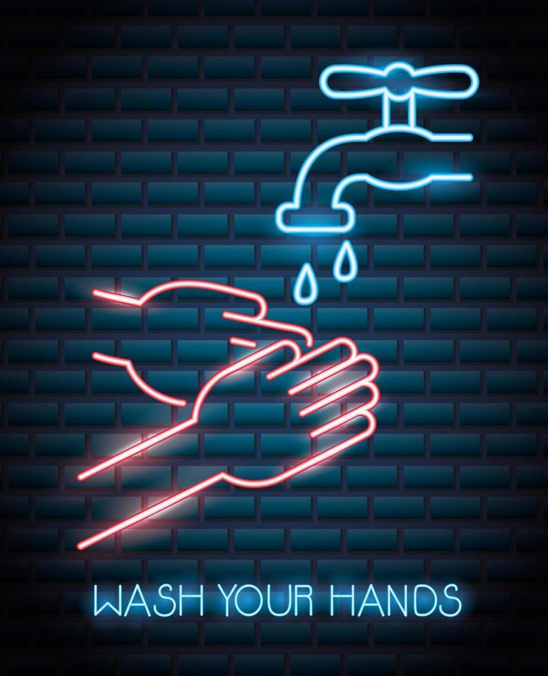lave as mãos, sinal de néon do coronavírus vetor