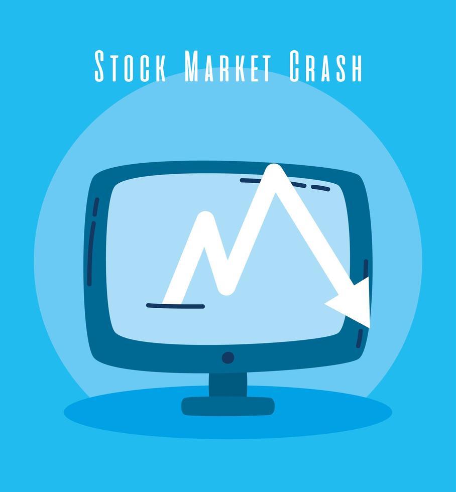 área de trabalho com seta para baixo, ícone de queda do mercado de ações vetor