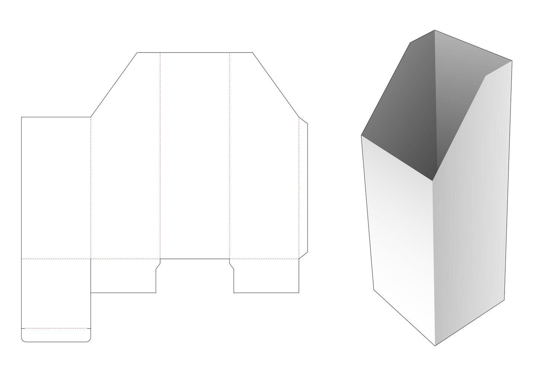 caixa de papelaria alta chanfrada com modelo de janela cortada vetor