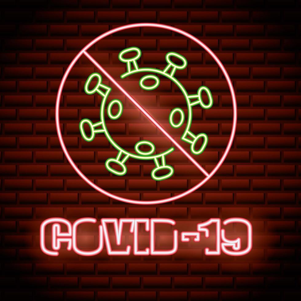 pare o sinal de néon covid-19 vetor