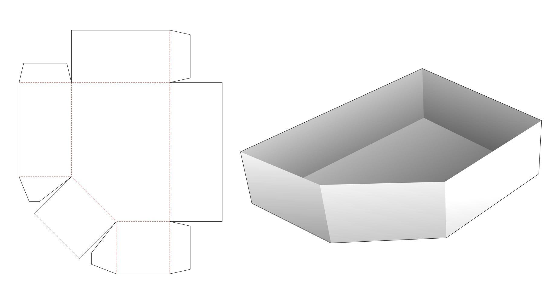 molde de bandeja chanfrada de papelão cortado vetor