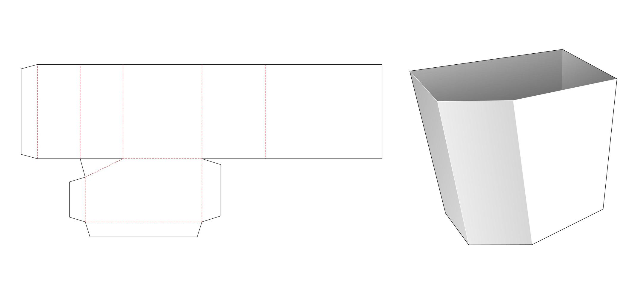 molde de corte e vinco para caixa de papelaria chanfrada vetor