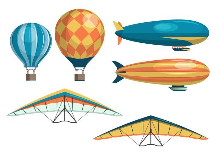Conjunto de coleção de vetores Dirigible, Air Balloon e Kite