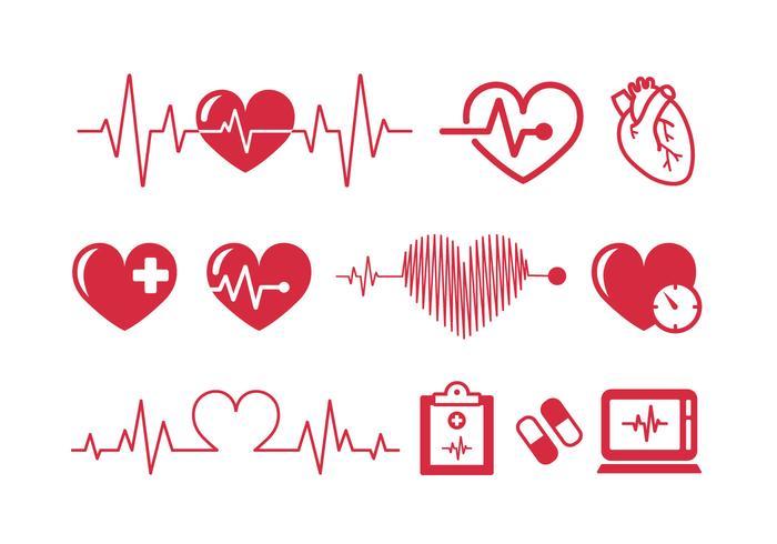 heartbeats cardiogram ícones vetoriais vetor