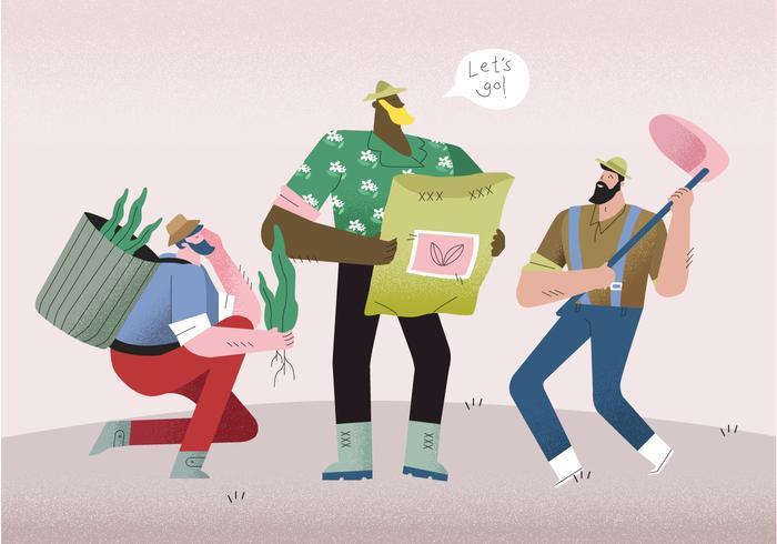 Homens camponeses prontos para cultivar ilustração vetorial vetor