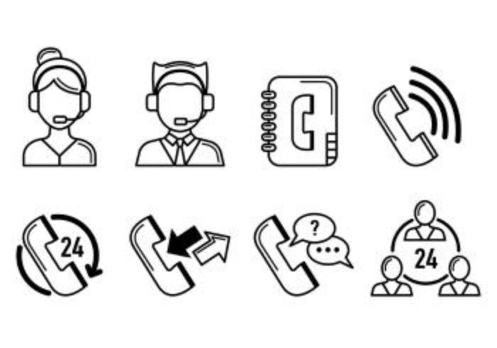 Set Of Call Center Icons vetor