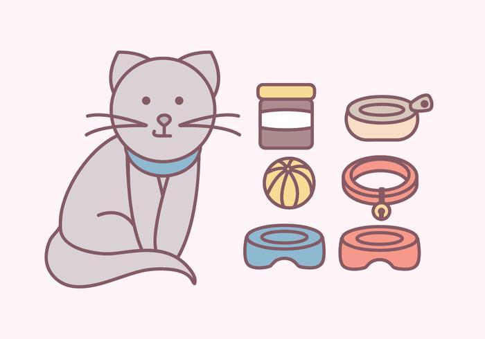 acessórios de gatos bonitos vetor