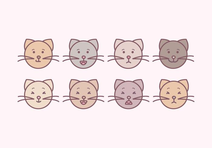 Emoticons bonito dos gatos do vetor