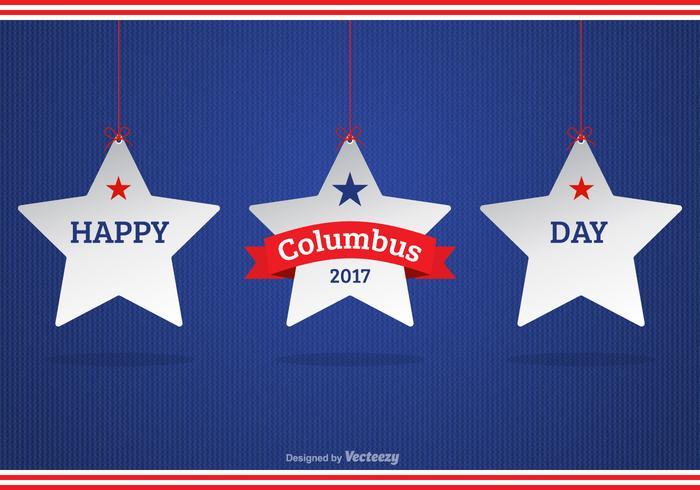 Feliz dia 2017 de Colombo com estrelas brancas penduradas vetor