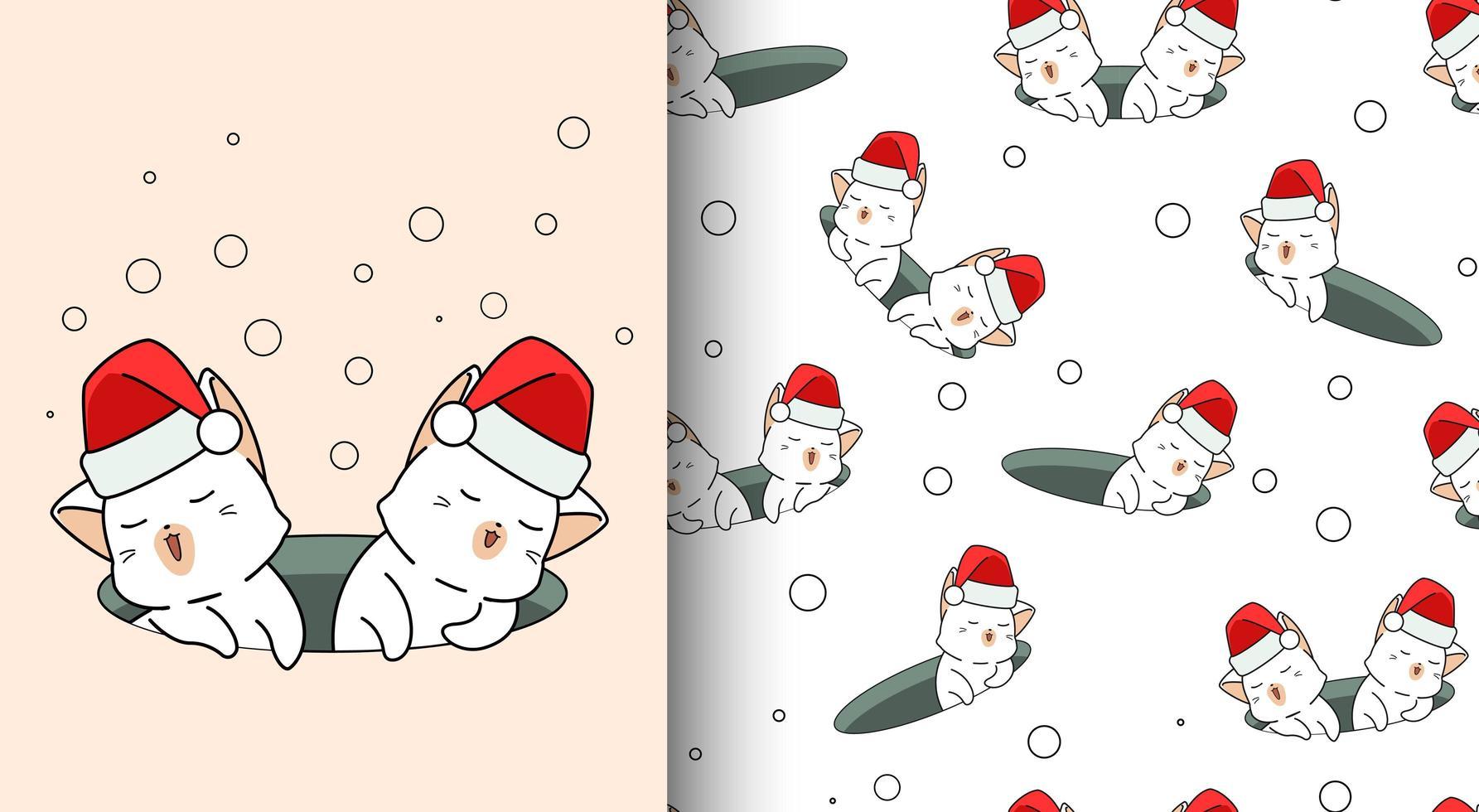 gatos kawaii de padrão sem emenda usando chapéu de Papai Noel no buraco vetor