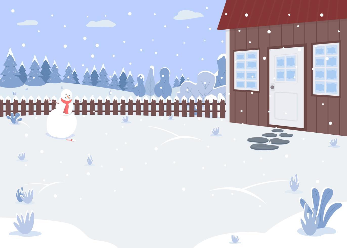 quintal de casa de inverno vetor