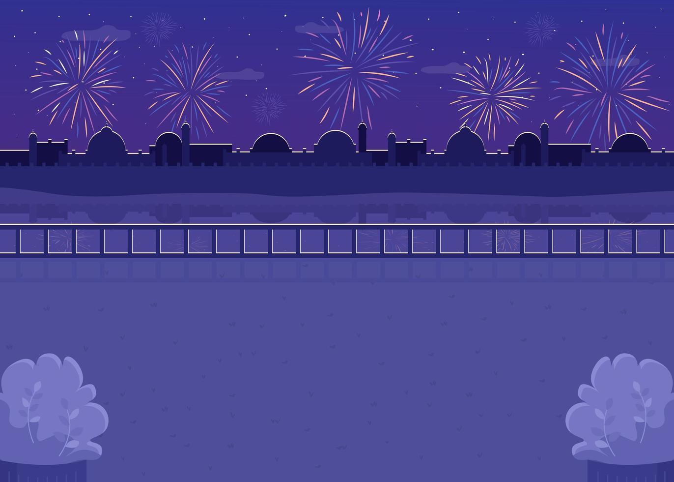 fogos de artifício noturnos ao fundo vetor