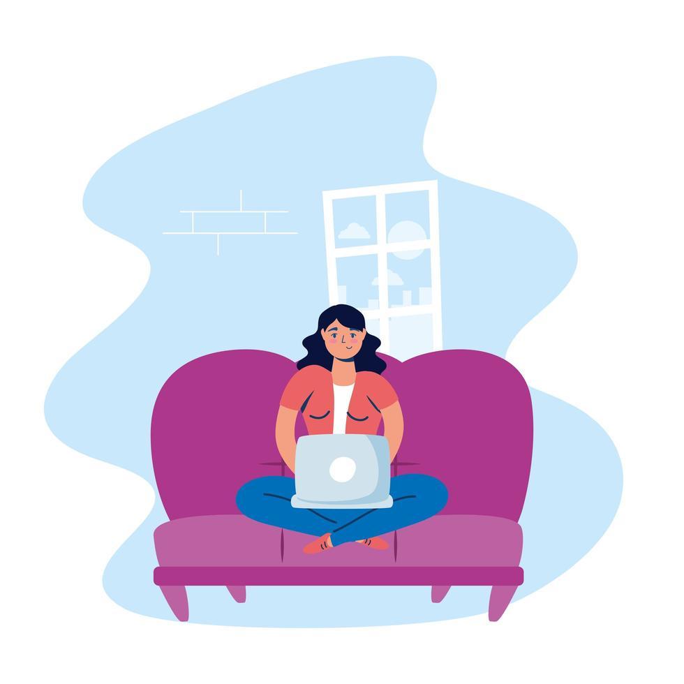 mulher usando o laptop em casa vetor