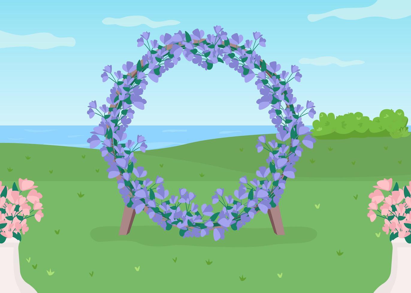 arco floral azul vetor