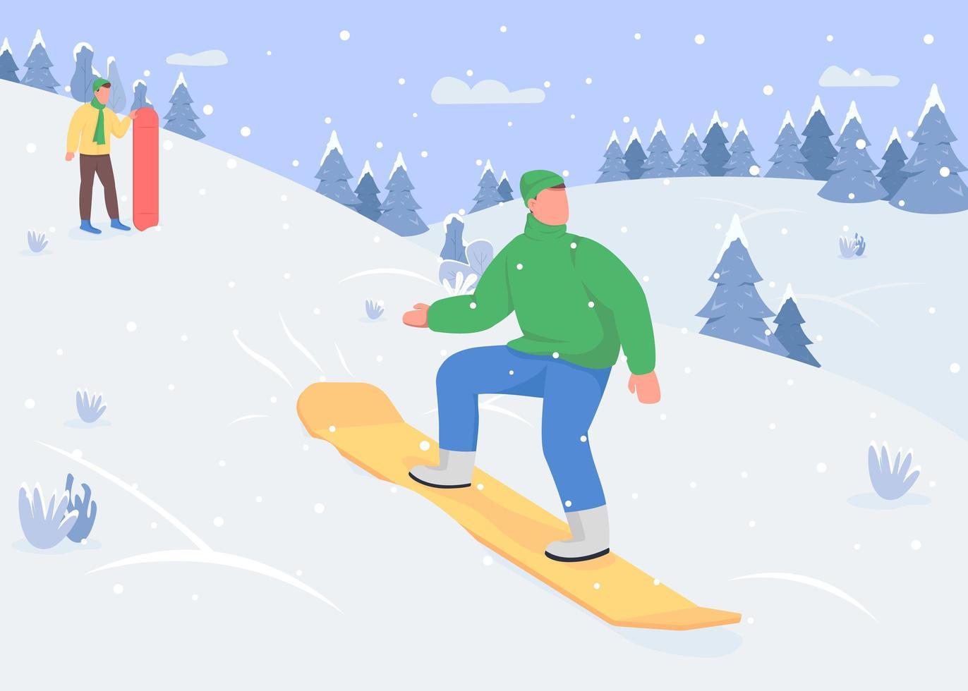 snowboard descendo a colina vetor