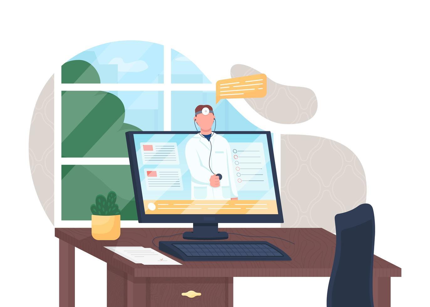 médico online na tela vetor