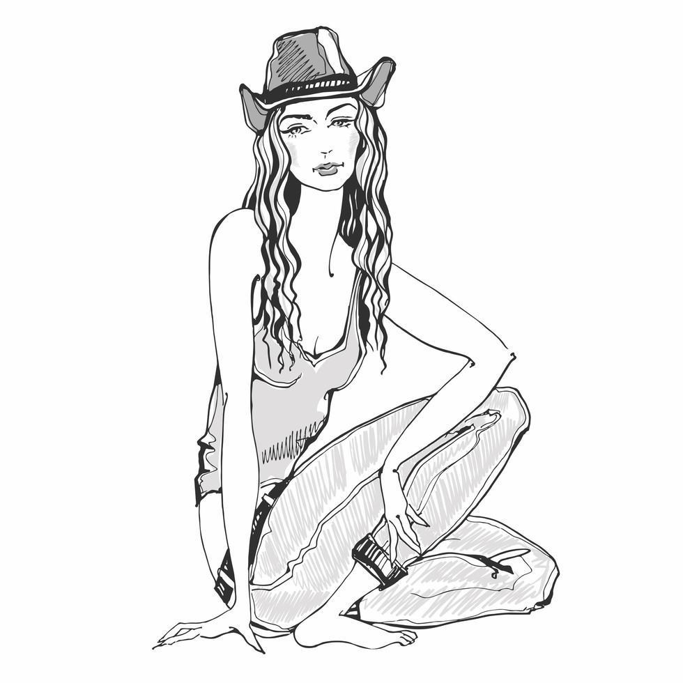 menina da moda em jeans e chapéu. esboço e manchas de aquarela. vetor