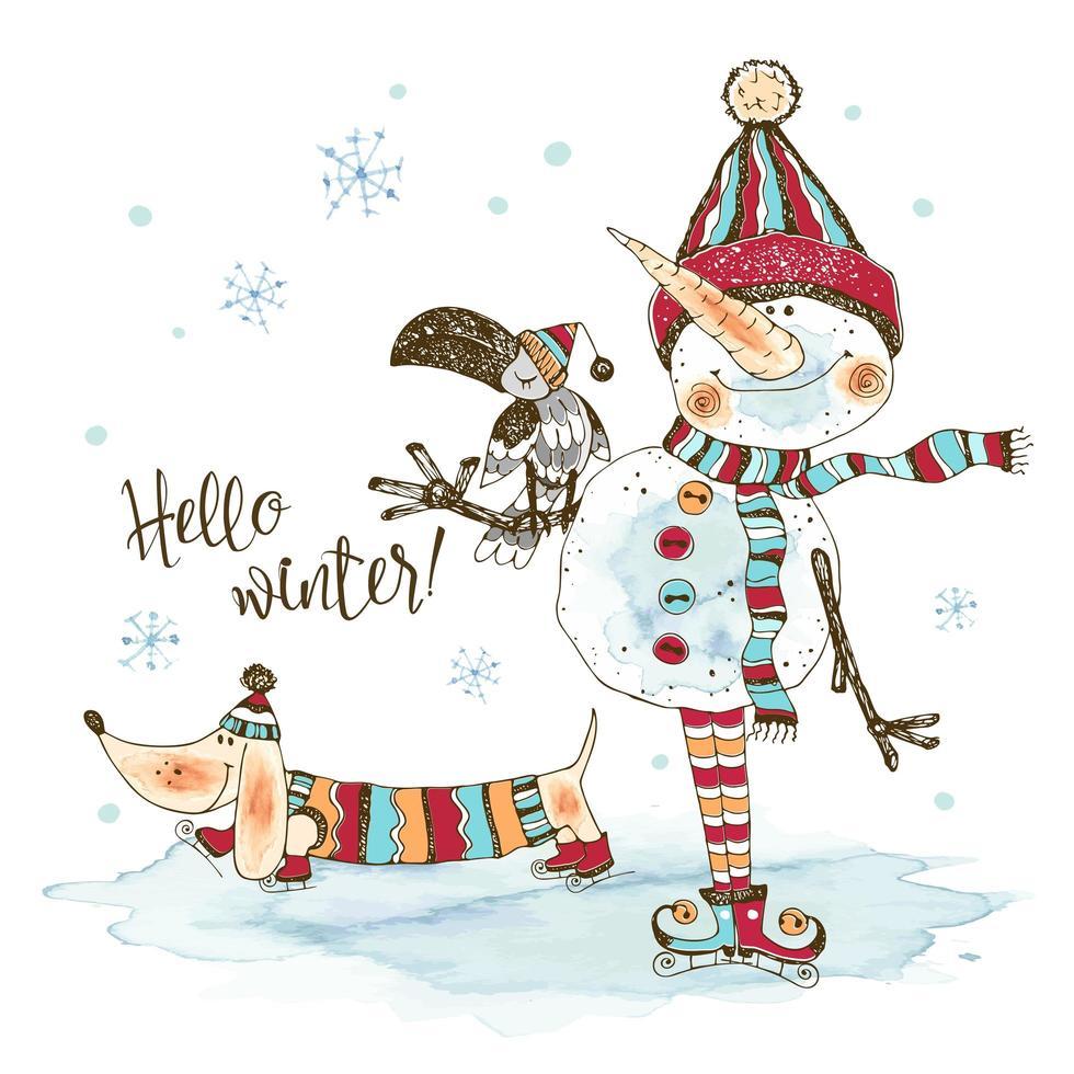 boneco de neve engraçado em um chapéu de malha e lenço vetor