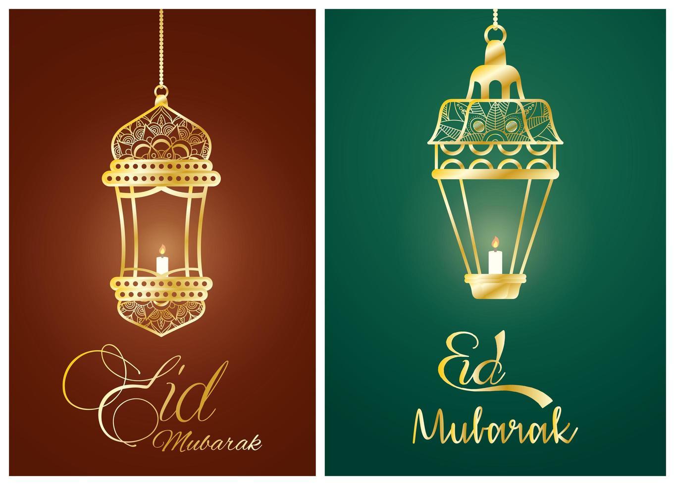 Pôster de celebração eid mubarak com lâmpadas penduradas vetor
