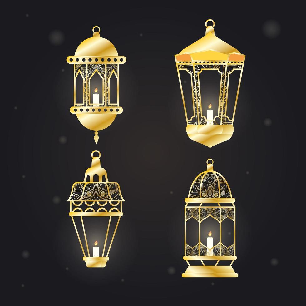 conjunto de ícones pendurados de lâmpadas estilo árabe vetor
