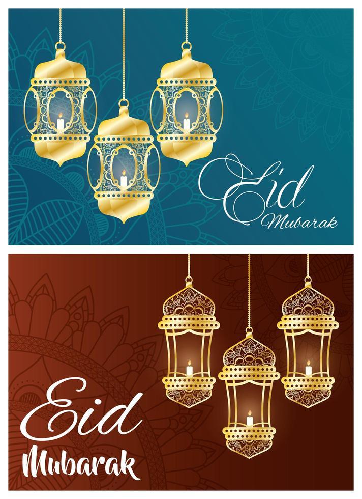 Ser de banner de celebração eid mubarak com lâmpadas penduradas vetor