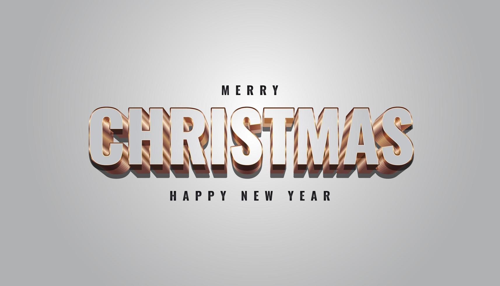 banner de feliz natal com letras 3D cinza e douradas vetor