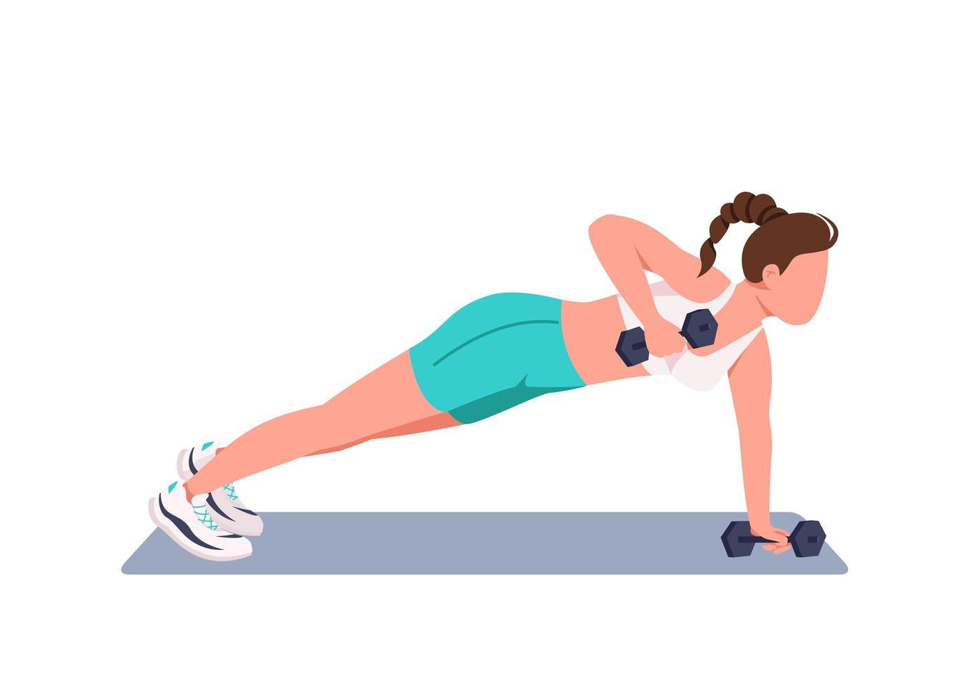 mulher fazendo flexões com halteres vetor