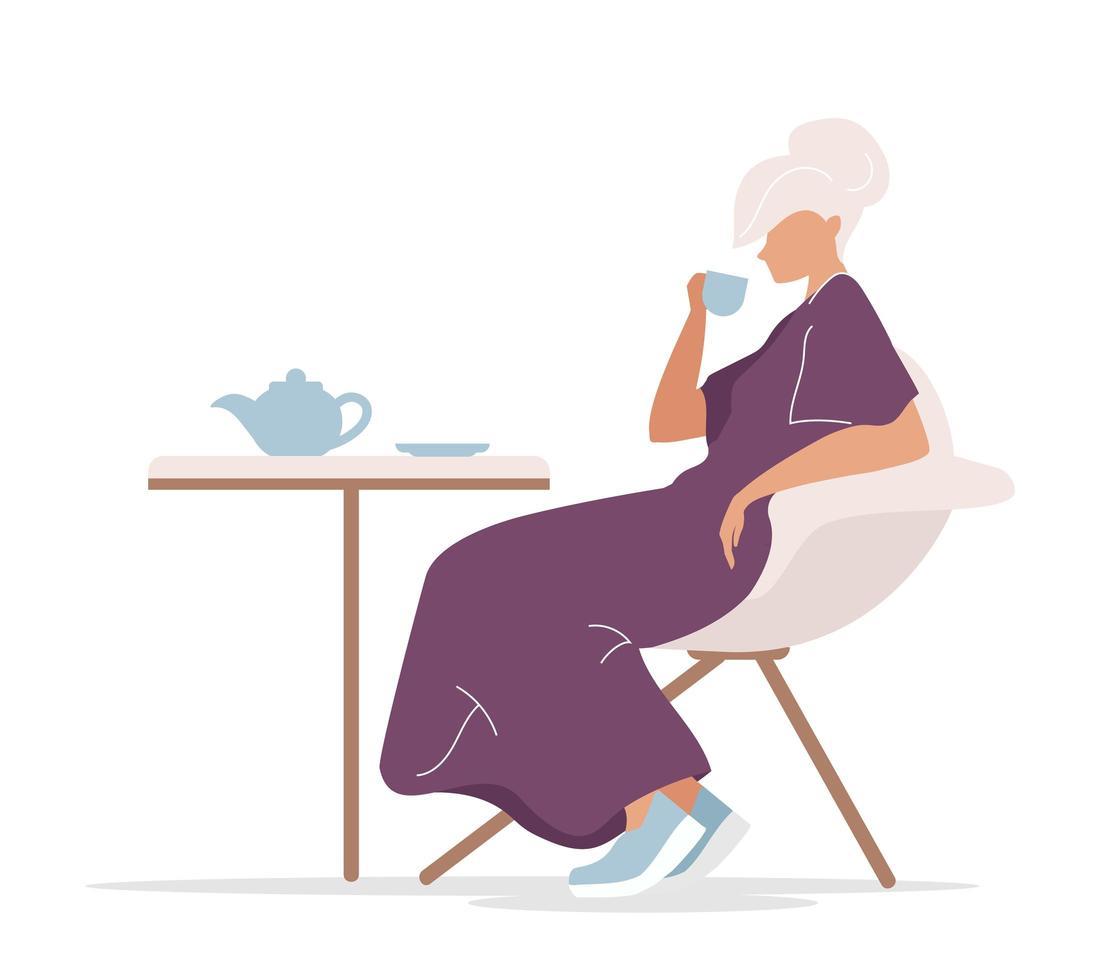 mulher bebendo chá sozinha vetor