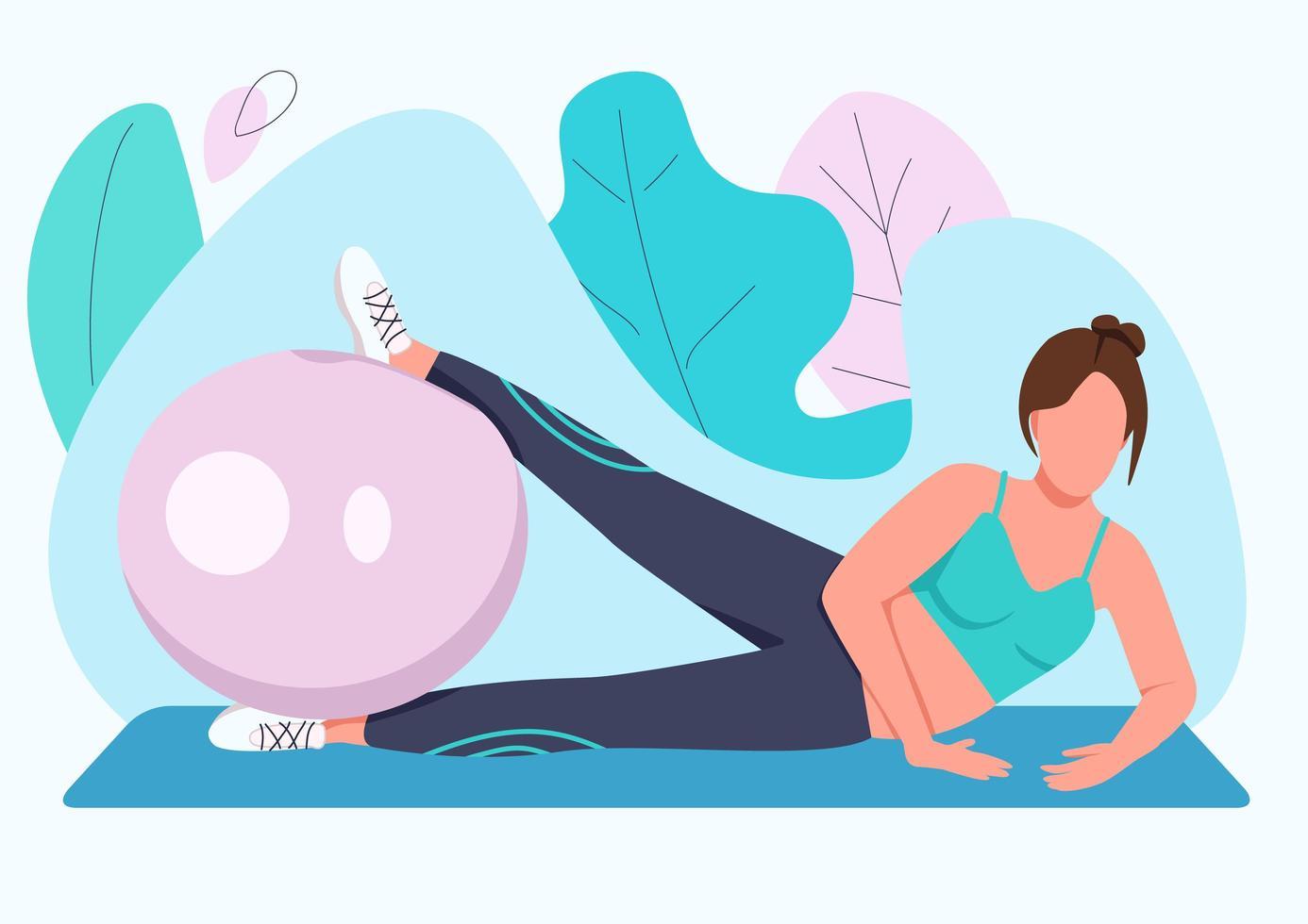 mulher treinando com bola de estabilidade vetor