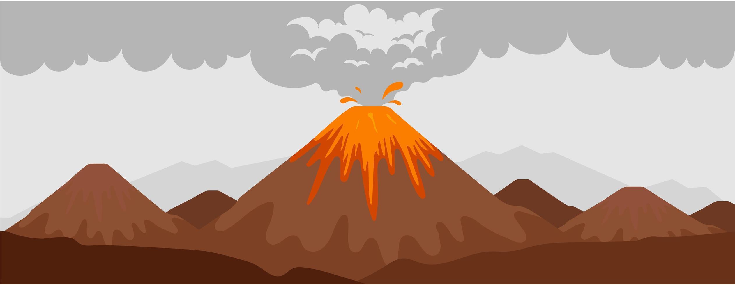 cena da erupção do vulcão vetor