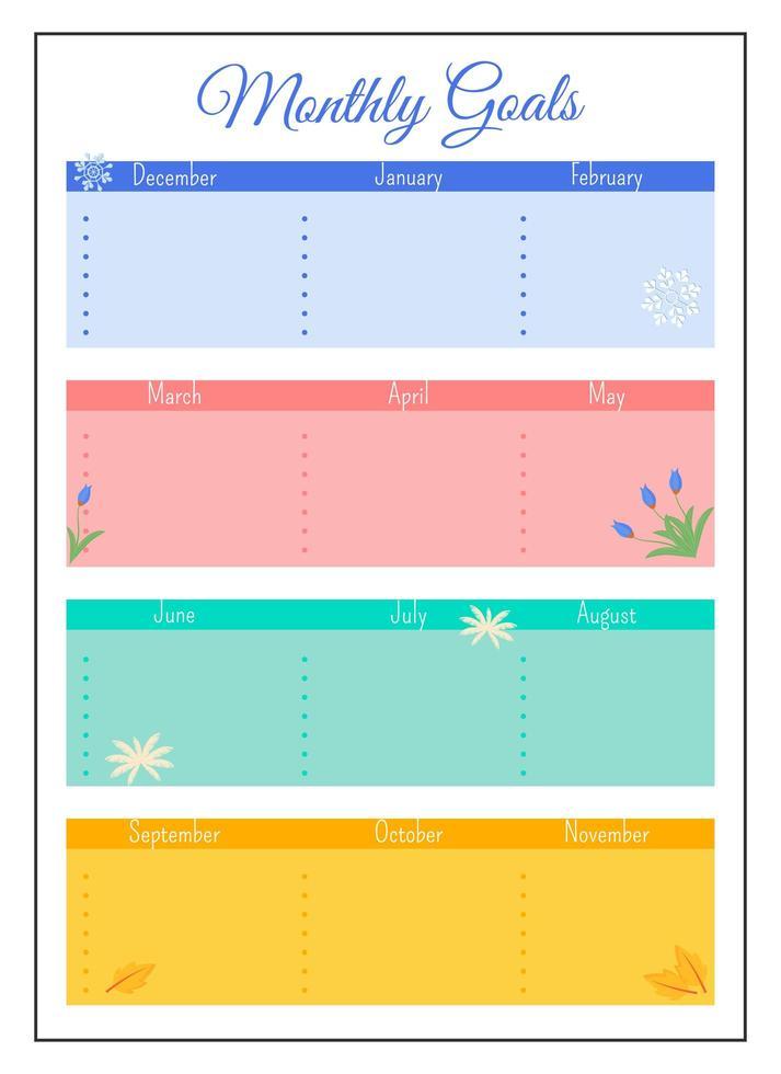 design da página do planejador criativo da grade de metas mensais vetor