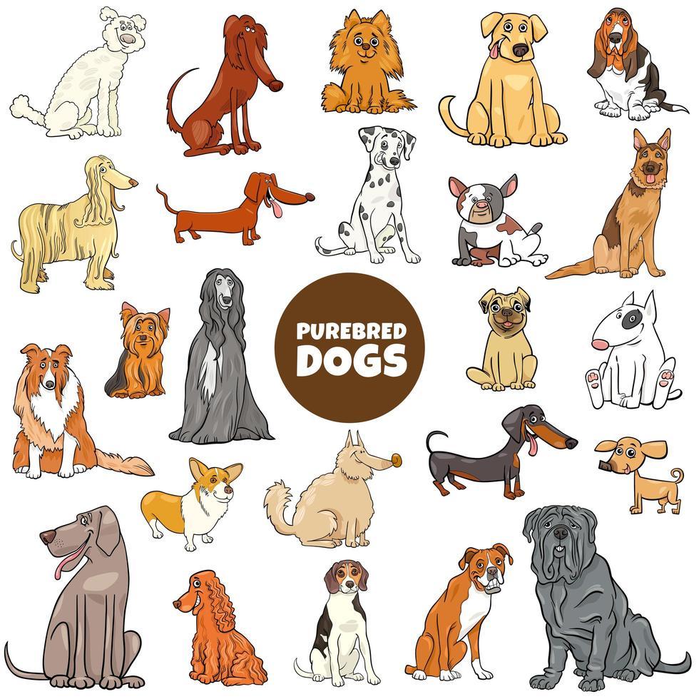 Conjunto grande de personagens de desenhos animados de cães de raça pura vetor