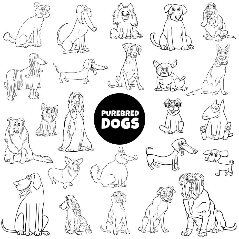 página do livro grande conjunto de cores de cães de raça pura de desenho animado vetor