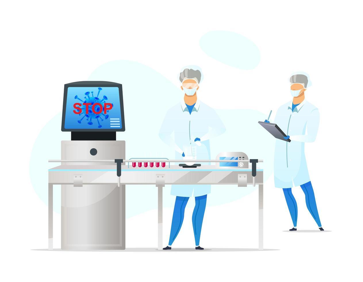 cena de trabalhadores de laboratório vetor