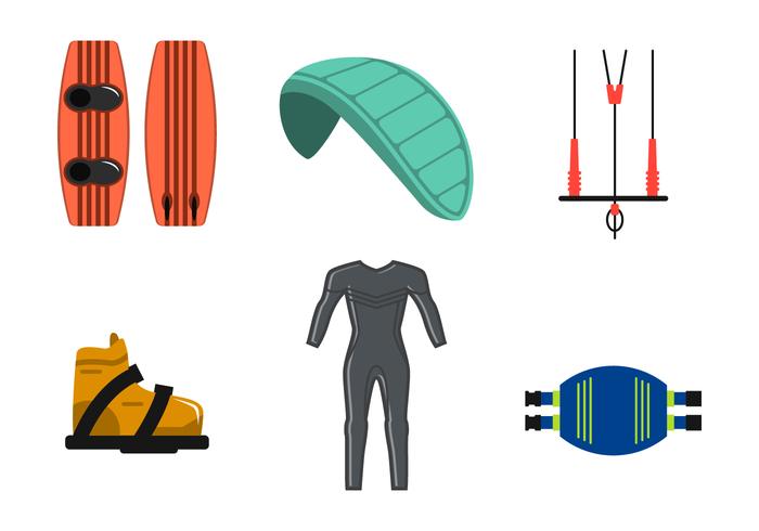 Vector de equipamentos de Kitesurf