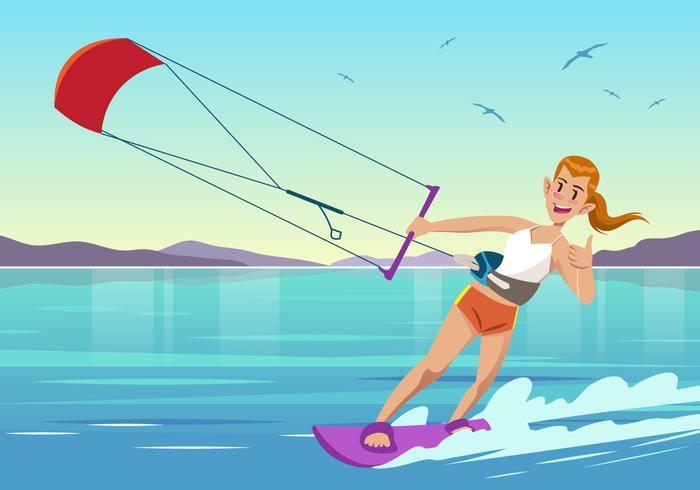 Vector de esporte aquático de Kitesurf