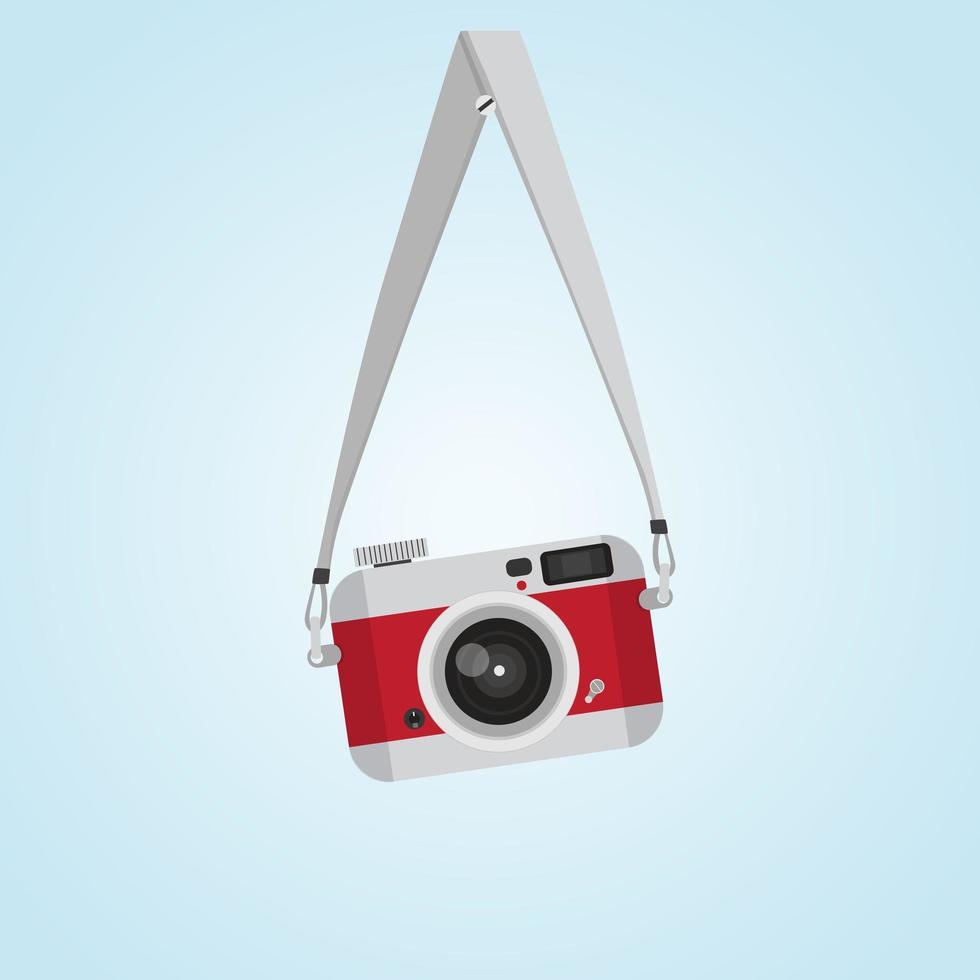 câmera vintage vermelha pendurada com estilo plano de cabeça de parafuso vetor