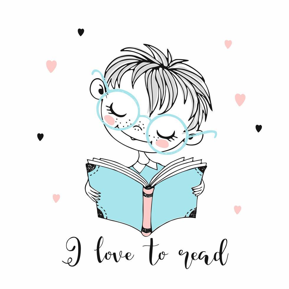 menino bonitinho lendo um livro. vetor