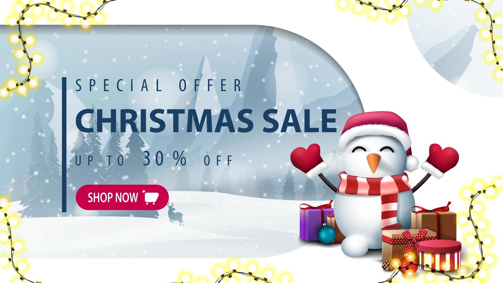 banner de desconto em estilo de corte de papel com boneco de neve vetor