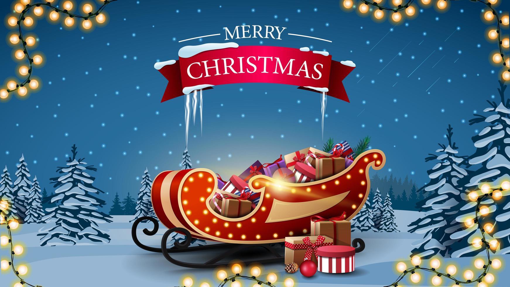postal de saudação com trenó de Papai Noel com presentes vetor