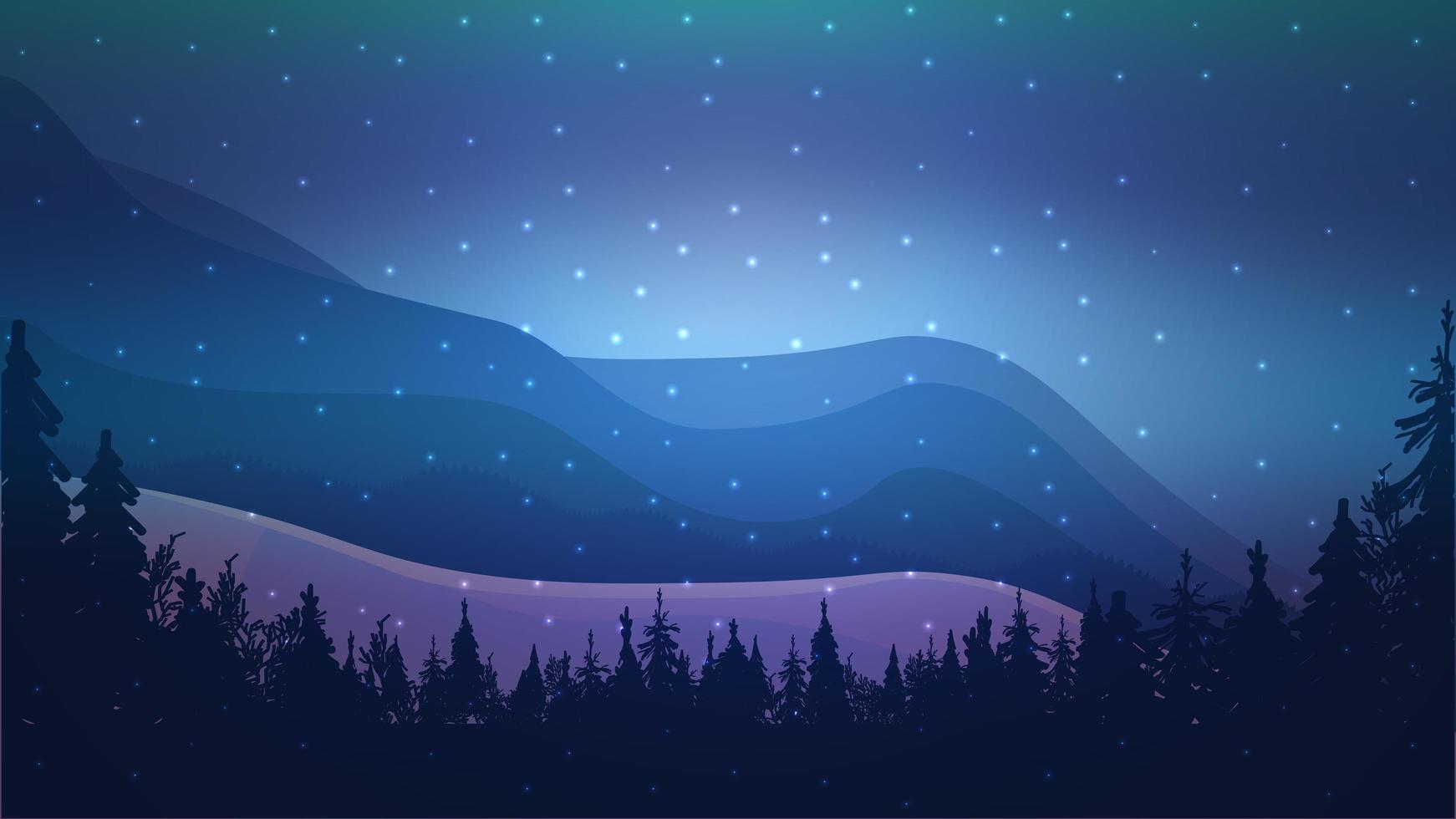 paisagem noturna de inverno com montanhas vetor