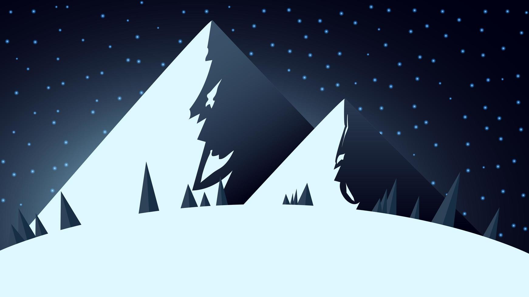 paisagem de inverno com duas grandes montanhas nevadas vetor