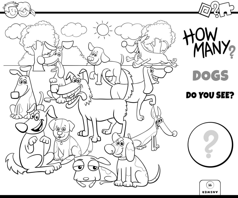 livro de cores do jogo educativo contando cães vetor